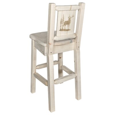 "Haleigh 30"" Barstool with Back and Laser Engraved Elk Design Color: Natural/Clear Lacquer"