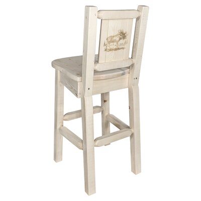 """Haleigh 30"""" Barstool with Back and Laser Engraved Moose Design Color: Natural/Clear Lacquer"""