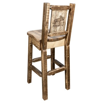 "Haleigh 30"" Barstool with Back and Laser Engraved Moose Design Color: Brown"
