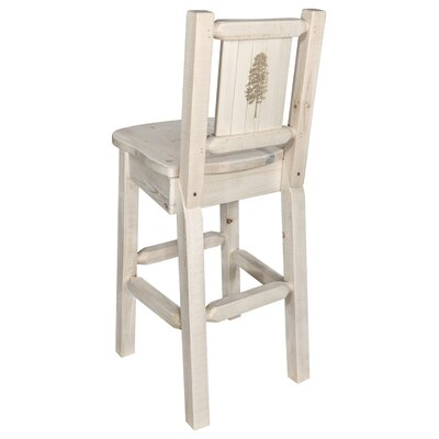 "Haleigh 30"" Barstool with Back and Laser Engraved Pine Tree Design Color: Natural/Clear Lacquer"
