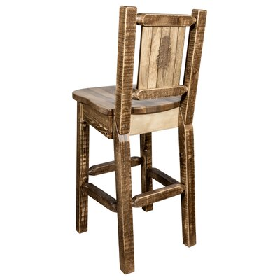 "Haleigh 30"" Barstool with Back and Laser Engraved Pine Tree Design Color: Brown"