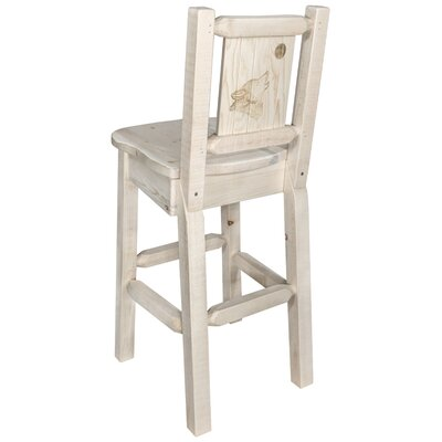 """Haleigh 30"""" Barstool with Back and Laser Engraved Wolf Design Color: Natural/Clear Lacquer"""