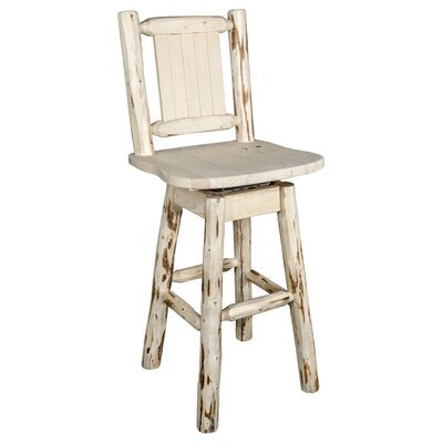 """Prasad 24"""" Swivel Bar Stool Color: Natural with Clear Lacquer"""