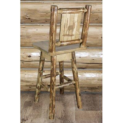 "Tustin 24"" Square Seat Wood Swivel Bar Stool"