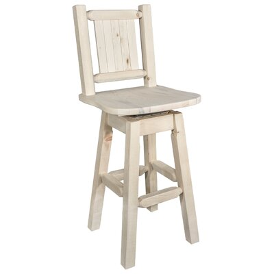 """Katlyn 24"""" Full Back Swivel Bar Stool Color: Natural with Clear Lacquer"""