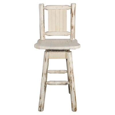"""Abordale 24"""" Swivel Bar Stool Color: Natural with Clear Lacquer"""
