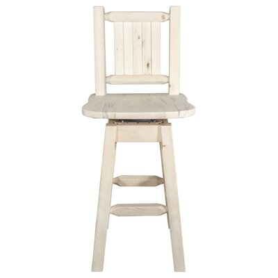 "Haleigh 24"" Swivel Bar Stool Color: Natural with Clear Lacquer"