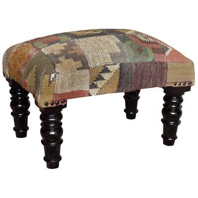 Handmade Wooden Kilim Upholstered Stool