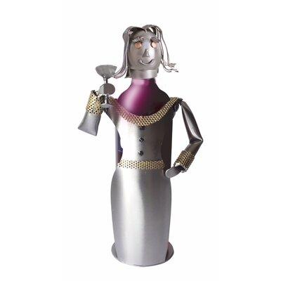 Zee Martini Lady Toasting Tabletop Wine Bottle Rack