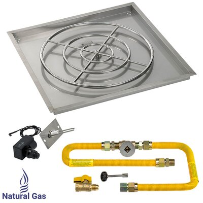 """36"""" High Capacity Square Drop-in Pan with Natural Gas Spark Ignition Kit (Set of 2)"""