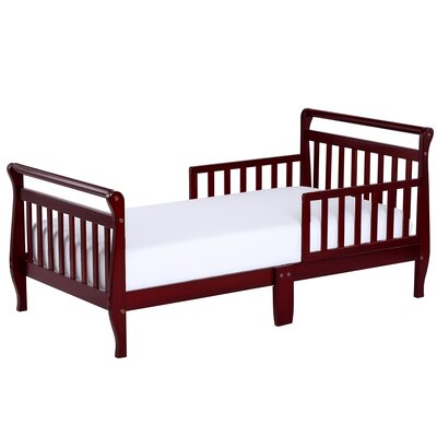 Toddler Sleigh Bed with Safety Rails Color: Cherry
