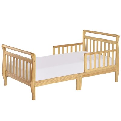 Toddler Sleigh Bed with Safety Rails Color: Natural