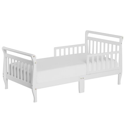 Toddler Sleigh Bed with Safety Rails Color: White