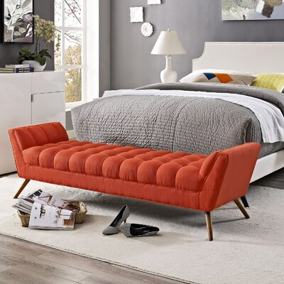 Freeborn Upholstered Bench Upholstery: Red