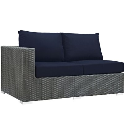 Tripp Left Arm Loveseat Sectional Piece with Cushions Fabric: Navy