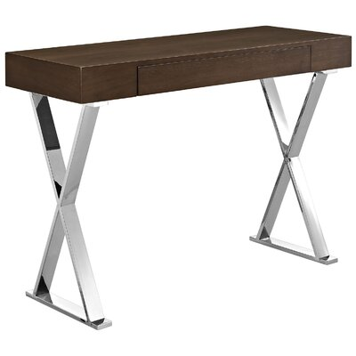Kerner Console Table Table Base Color: Stainless Steel, Table Top Color: Brown