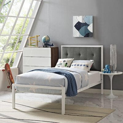 Lottie Twin Platform Bed Accessory Color: Gray, Color: White