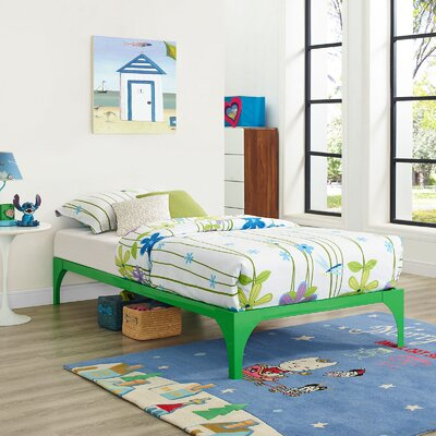 Ollie Twin Bed Frame Color: Green