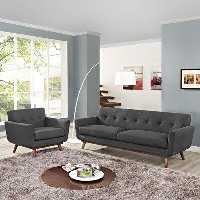 Saginaw 2 Piece Living Room Set Upholstery: Gray