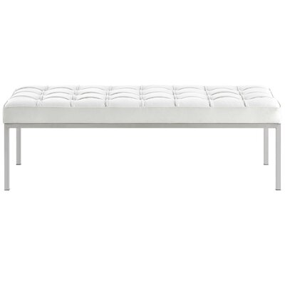 Gayatri Leather Bench Upholstery Color: White