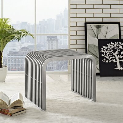 "Pipe Metal Bench Size: 16.5"" H x 19.5"" W x 15.5"" D"