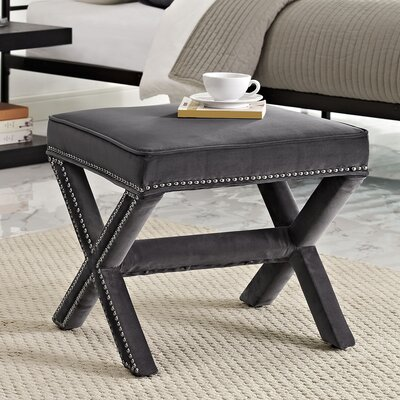 Rivet Vanity Stool Color: Gray