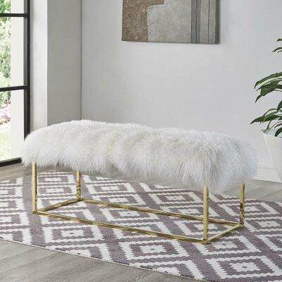 Zaire White Sheepskin Bench in Gold