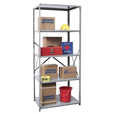"Hi-Tech Open Type 4 Shelf Shelving Unit Starter Size: 48"" W x 18"" D x 87"" H"
