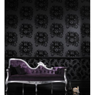 Graham & Brown Raven Diablo Flock 10m L x 52cm W Roll Wallpaper