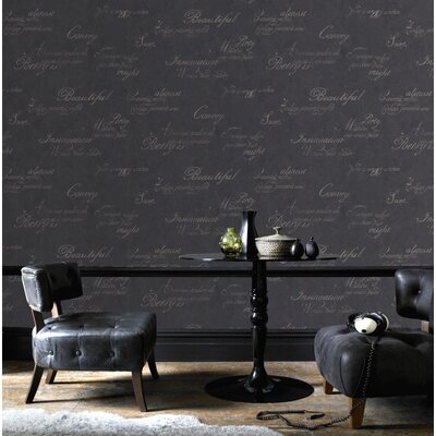 Graham & Brown Concrete Script 10m L x 52cm W Roll Wallpaper