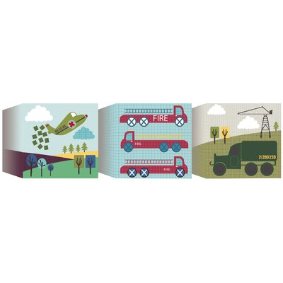 Graham & Brown Ribbon Transportation 3 Piece Graphic Art on Canvas Set