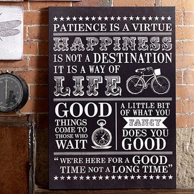 Graham & Brown Happiness Typo Textual Typography on Canvas