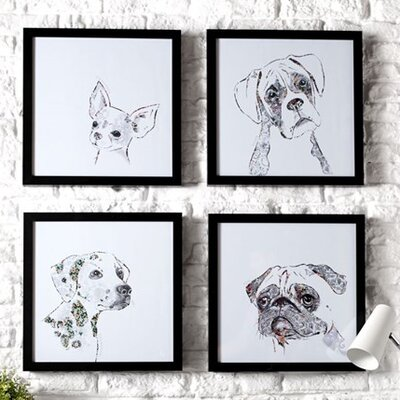Graham & Brown Puppy Love Dennis the Boxer 4 Piece Art Print on Canvas Set