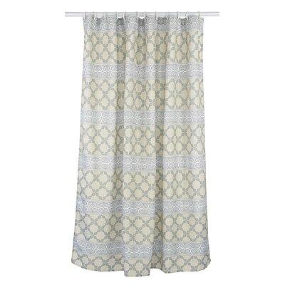 Vogue Line Design Shower Curtain Set Color: Linen Beige/Light Green/Grey