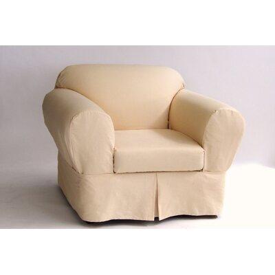 Box Cushion Armchair Slipcover Upholstery: Butter