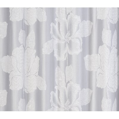 Aguila Floral Textured Shower Curtain Color: Silver