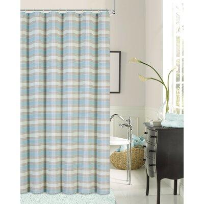 Rieves Stripe Fabric Shower Curtain Color: Seafoam