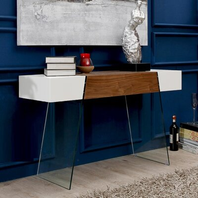 IL Vetro Cabana Console Table Color: White / Walnut