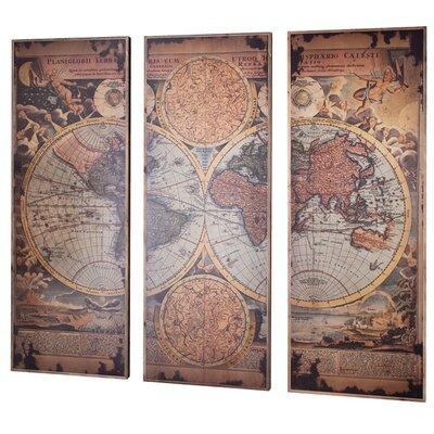 Gallery LeClerc World Map 3 Piece Graphic Art Set