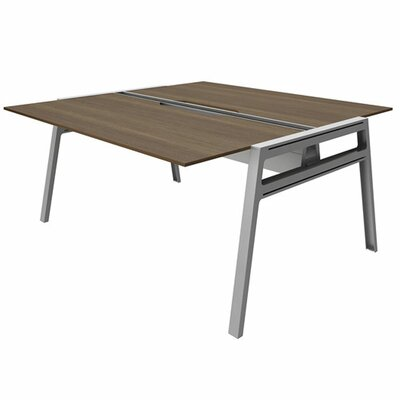 "Bivi Writing Desk Base Finish: Platinum Metallic, Top Finish: Blackwood, Surface Size: 30"" x 48"""