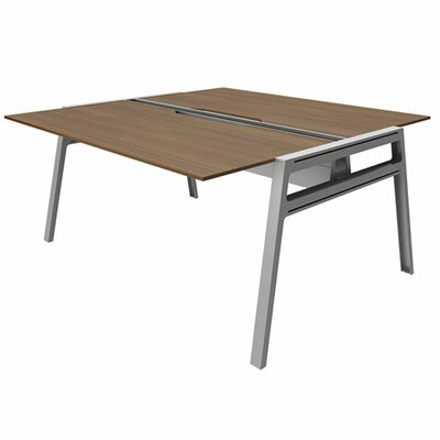 "Bivi Writing Desk Base Finish: Platinum Metallic, Top Finish: Clear Walnut, Surface Size: 30"" x 48"""