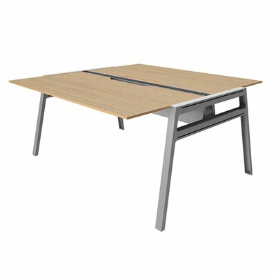 "Bivi Writing Desk Base Finish: Platinum Metallic, Top Finish: Warm Oak, Surface Size: 30"" x 60"""