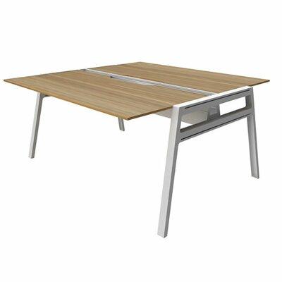 "Bivi Writing Desk Base Finish: Arctic White, Top Finish: Virginia Walnut, Surface Size: 30"" x 48"""
