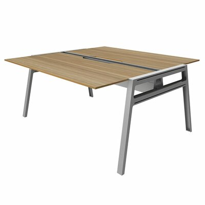 "Bivi Writing Desk Base Finish: Platinum Metallic, Top Finish: Virginia Walnut, Surface Size: 30"" x 60"""