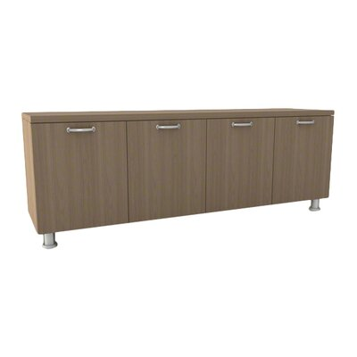 Currency Credenza Laminate Color: Arctic White, Pull Style: Handle Pull-Nickel