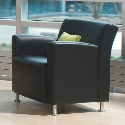 Jenny Lounge Leather Lounge Chair Leather Color: Steelcase Leather - Black, Leg Type: Black Plastic