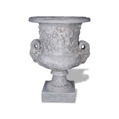 Ram Head Resin Stone Urn Planter Color: Lead Gray, Drain Hole: Drain Hole