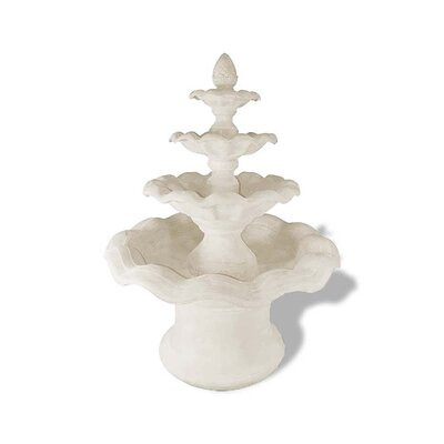 Polystone Smooth Wavy 4 Tier Fountain Color: Limestone