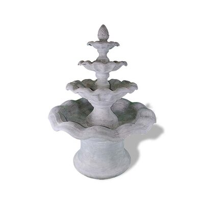 Polystone Smooth Wavy 4 Tier Fountain Color: Lead Gray