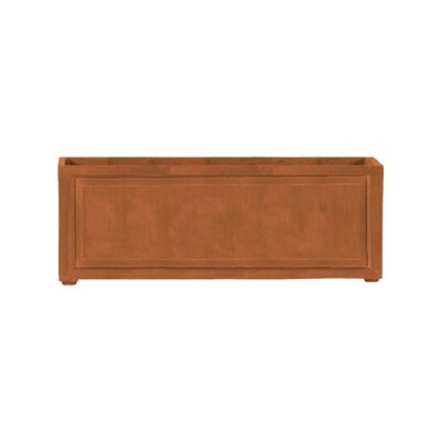 "Recessed Panel Resin Stone Planter Box Color: Terra Cotta, Size: 24"" H x 24"" W x 72"" D, Drain Hole: Drain Hole"
